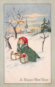 New Year Girl~Green Coat & Red Stocking Cap~Sled~Church~1915 Pink of Perfection