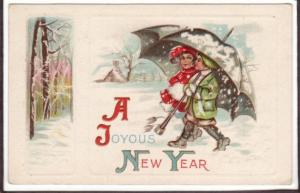Two Girls Umbrella Snow New Year Holiday postcard