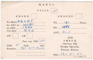 QSL, VS1JV, Singapore, 1960