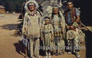 Chief Running Horse & Family Indian Postcard, Post Card Wyoming, WY, USA Unused