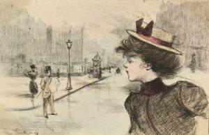 PC CPA ARTIST SIGNED HENRI BOUTET LADY & STREET SCENE Vintage Postcard (b25549)
