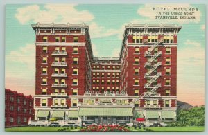 Evansville Indiana~Hotel McCurdy~Front View~Green Striped Awnings~1945 Linen PC