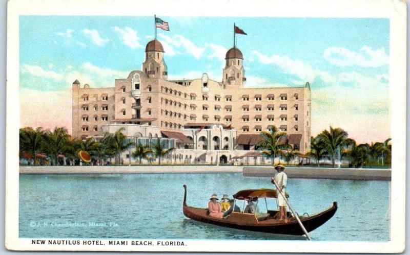 Miami Beach Florida Postcard New Nautilus Hotel W Gondola Curteich C1930s