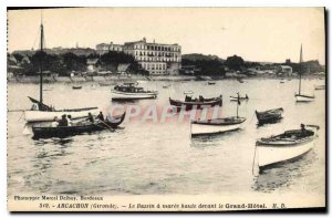 Postcard Old Gironde Arcachon Basin has high Maree front of the Grand Hotel