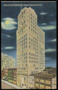Liberty Life Building at Night, Charlotte, NC. 1946 Tichnor linen postcard