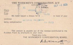 TORONTO, Ontario, Canada, PU-1926; The Workmen's Compensation Act
