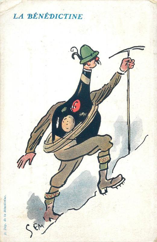 Illustrateur SEM caricature - La Bénédictine Alpinisme Alpiniste advertising pc