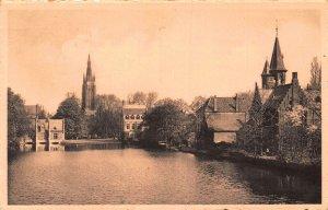 Belgium Brugge Minnewater Lac d'Amour Lake Postcard