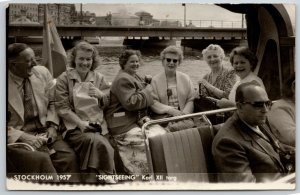 Stockholm SE Sightseers @ Kungen Karl XIITorg (Square) Have Jolly Time RPPC 1957