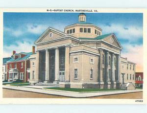 Unused Linen CHURCH SCENE Martinsville Virginia VA p4536@
