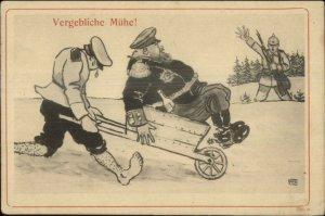 WWI Propaganda German Fat Man in Wheelbarrow VERGEBLICHE MUHE Postcard G19
