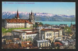 Cathedral & University Lausanne Switzerland Unused c1920s