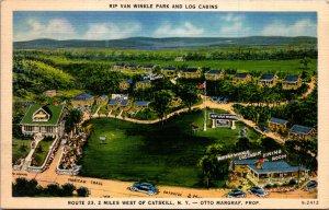 Park Cats kill NY rte 23 Vtg Postcard