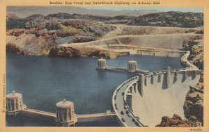 Boulder Dam Crest & Switchback Highway on ARIZONA Side, 1930-40s