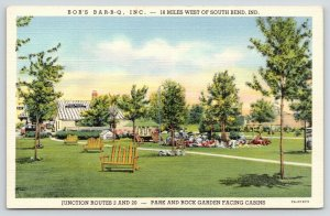 South Bend~Rolling Prairie Indiana~Bob's Bar-B-Q Lawn & Garden Chairs~1937 Linen