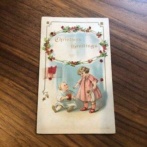 Postcard - Christmas Xmas Greetings - Fabric - CHILDREN - BOY GIRL - PC