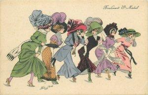 Xavier Sager signed parisian women boulevard St. Michel artist early postcard