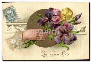 Postcard Old Main Fancy Flowers