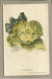 Postcard Phillip Boilean Artist Signed Art Deco Women My Big Brother 1268E