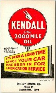 1950s Shenandoah, Iowa Postcard BURTON MOTORS Service Reminder Ad / KENDALL OIL