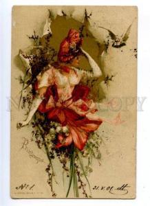 177037 ART NOUVEAU Fairy LILY Spring PRINTEMPS Vintage Sockl