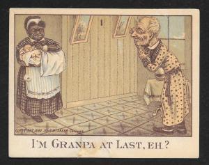 VICTORIAN TRADE CARDS (5) Grandpa & Babies
