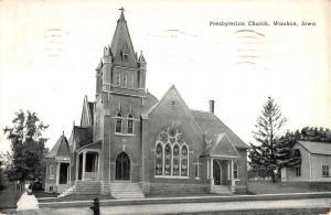 Waukon Iowa Presbyterian Church Street View Antique Postcard K50048
