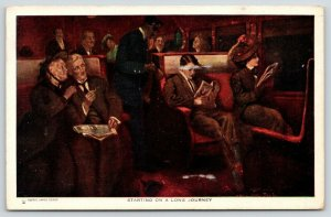 Alfred James Dewey~Starting a Long Journey~Couple in Train Car~Black Porter~1911