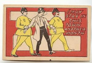 Drunk Man Smoking, Two Police Officers, Vintage Cartoon, Montreal