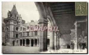 Blois Old Postcard The chateuea wing Louis XII view through the colonnades