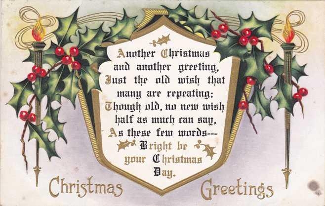 Christmas Greetings Mistletoe And Holly Pm 1915 Whitney Made
