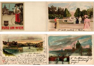 AUTRICHE, AUSTRIA, WIEN, VIENNA, 27 LITHOGRAPH LITHO CPA PRE-1910