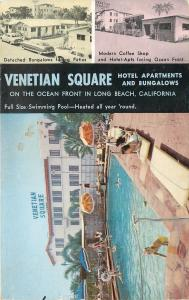 Long Beach CA~Venetian Square Hotel Apts~Coffee Shop~Bathing Beauties~Cars~1950