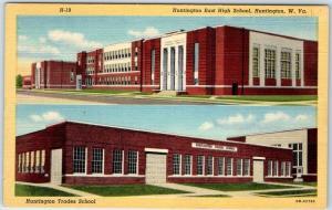 Huntington West Virginia Postcard EAST HIGH SCHOOL Street View Linen c1940s