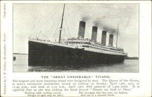 The Great Unsinkable Titanic - Steamship S.W. Robbins c1911 Postcard G19