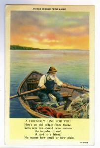 An Old Codger from Maine unused linen Curt Teich PPC w/ Poem