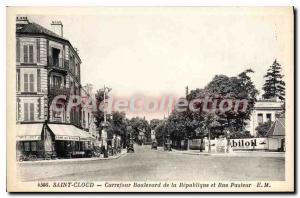 Postcard Old Saint Cloud Crossroads Boulevard de la Republique and Rue Pasteur