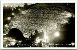 1940s HOLLYWOOD, California RPPC Real Photo Postcard Hollywood Bowl Night Scene
