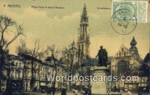 Place Certe et Statue Rubens Anvers, Belgium 1910 Stamp on front