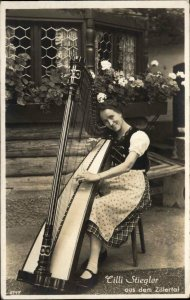 Beautiful Young Woman & Harp CILLI STIEGLER Zillertal Real Photo Postcard