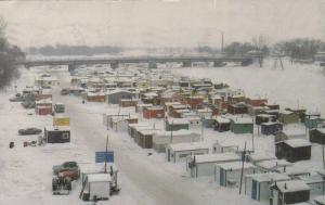 Ice Fishing shacks , LA OERADE, Quebec, Canada , PU-1985
