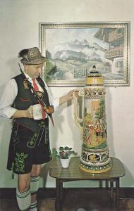 Frankenmuth Bavarian Inn, Frankenmuth, Michigan, 40-60s; Man holding Giant Stein