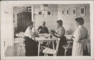 Card Game Playing Cards Maid Home Interior c1910 Real Photo Postcard AMATEUR