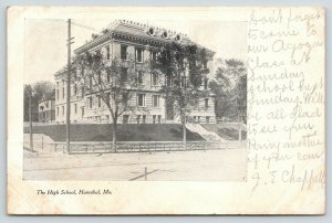 Hannibal MO~Retaining Wall Around Old High School~Round Dormer Windows~1907 B&W
