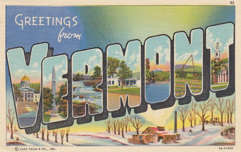 Large Letter Greetings ; VERMONT , 30-40s