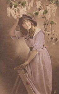 TUCK 4202; My Girl, Young lady in Lilac dress on a ladder, 1900-10s