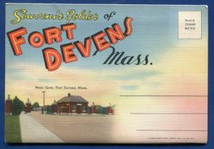 Fort Devens Massachusetts mass ma tents barracks post theater postcard folder