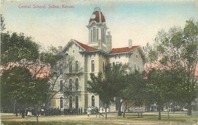 Central School Salina Kansas 1910 Postcard Kansas CO hand colored 12191