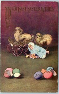 Vintage EASTER Greetings Postcard Dressed Chick Colored Eggs, Ad on Back c1910s