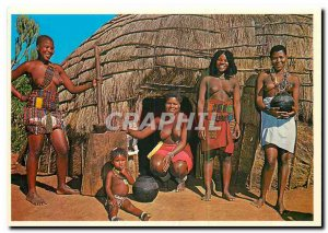Postcard Modern Beaded Zulu Natal South Africa outside a typical round reed h...